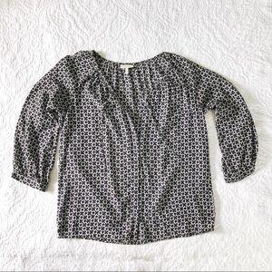 Joie Silk Boho Blouse Button Down black and white